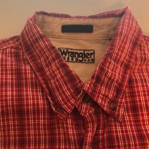 Men's button down wrangler plaid shirt 2XL